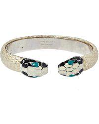 BVLGARI Serpenti Forever Metallic Leather Open Cuff Bracelet