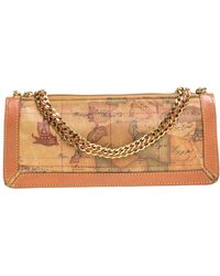 Alviero Martini 1A Classe Coated Canvass And Leather Chain Baguette Bag - Brown