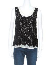 Chanel Black Velvet Lace Sleeveless Top