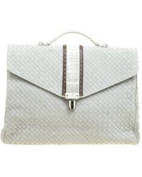 Bottega Veneta - Intrecciato Leather Crocodile Trim Briefcase - Lyst