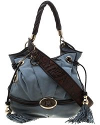 Lancel Brigitte Bardot Blue Suede Handbag
