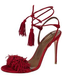 Aquazzura Red Fringed Suede Wild Thing Ankle Wrap Sandals Size 37.5