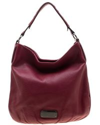 Marc By Marc Jacobs Burgundy Leather New Q Hillier Hobo - Multicolour