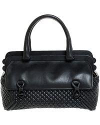 Bottega Veneta Dark Grey Intrecciato Leather Satchel
