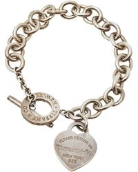 Tiffany & Co. - Return To Tiffany Heart Tag Silver Chain Link Toggle Bracelet - Lyst