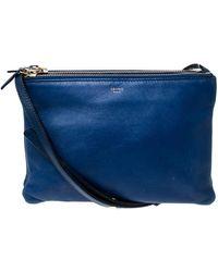 Céline Blue Leather Small Trio Crossbody Bag
