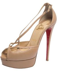 Christian Louboutin Beige Leather Strappy Platform Sandals - Natural