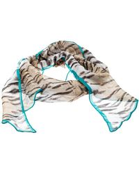 Roberto Cavalli Beige Animal Print Chiffon Accented Border Detail Scarf - Natural