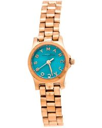 Marc By Marc Jacobs Blue Rose Gold Plated Stainless Steel Henry Dinky Mbm3328 Women's Wristwatch 20 Mm - Metallic