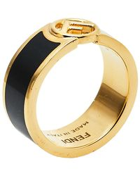 Fendi F Is Bicolor Enamel Band Ring - Black