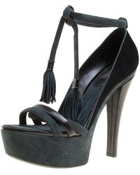 Louis Vuitton - /grey Fabric, Leather And Suede Platform Sandals - Lyst