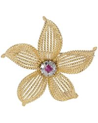 Tiffany & Co. Vintage 0.25 Ctw Diamond And Ruby 18k Yellow Gold Flower Pin Brooch - Metallic