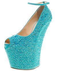 Giuseppe Zanotti Blue Crystal Embellished Suede Heelless Peep Toe Platform Pumps Size 37