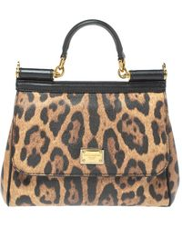 Dolce & Gabbana Beige/black Coated And Leather Medium Miss Sicily Top Handle Bag - Natural