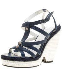 Balenciaga - Blue/white Leather Espadrille Wedge Sandals - Lyst