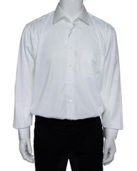 Balmain White Striped Cotton Long Sleeve Button Front Two Ply Shirt