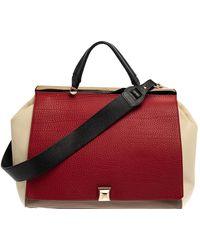 Furla Tri Colour Leather Cortina Top Handle Bag - Red