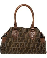 Fendi Tobacco Zucca Canvas And Leather Chef De Jour Bag - Brown