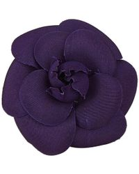 Chanel - Canvas Camellia Brooch - Lyst