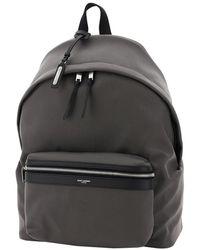 Saint Laurent Saint Laurent Black City Leather Backpack