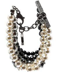 Chanel Cc Faux Pearl Bead Gunmetal Tone Multi-strand Bracelet - Gray
