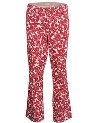 Tory Burch - Floral Printed Denim Laurel Cropped Straight Leg Jeans L - Lyst