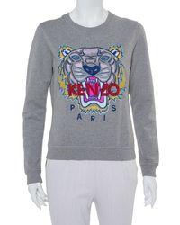 KENZO Grey Tiger Motif Embroidered Cotton Crewneck Sweatshirt