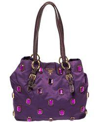 Prada Purple Tessuto Pietre Jewelled Tote