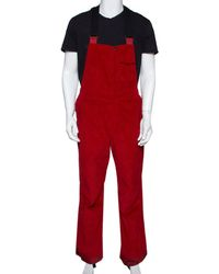 Moncler Grenoble Red Corduroy Straight Fit Overalls