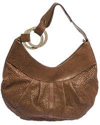 BVLGARI Brown Pleated Leather Hobo
