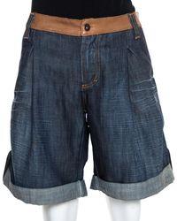 Dolce & Gabbana D&g Navy Blue Denim Leather Trim Detail Oversized Shorts