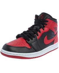 Nike Air Jordan 1 Red/black Leather Mid Trainers