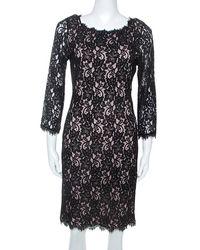 Diane von Furstenberg Black Lace Long Sleeve Zarita Dress L