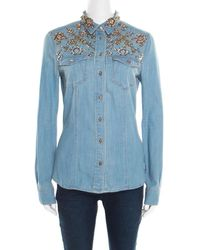 Roberto Cavalli Embellished Faded Effect Denim Long Sleeve Shirt - Blue
