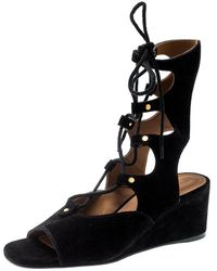 Chloé Black Suede Gladiator Wedge Sandals