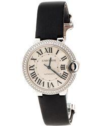 Cartier Silver Opaline 18k White Gold Diamonds Ballon Bleu 3004 Women's Wristwatch 36 Mm - Black