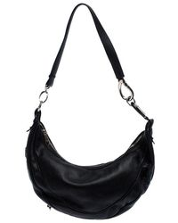 Etro Black Leather Half Moon Shoulder Bag