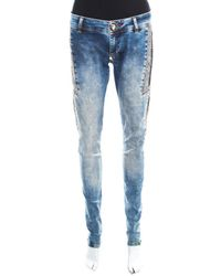 Philipp Plein Indigo Crystal And Lace Detail Distressed Strawberry Cheesecake Slim Fit Jeans M - Blue