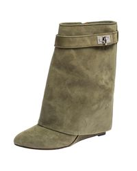Givenchy Green Suede Shark Lock Wedge Ankle Boots