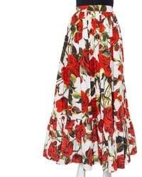 Dolce & Gabbana White Rose Printed Cotton Maxi Skirt