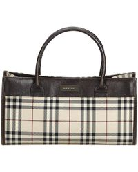9c61fc9d785 Burberry Brown/yellow House Check Fabric And Leather Gladstone Tote ...