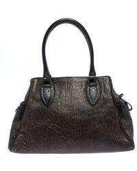 Fendi Dark Brown Shimmering Leather Chef De Jour Satchel