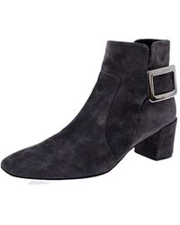 Roger Vivier Grey Suede Polly Side Buckle Ankle Boots