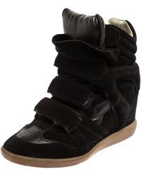 Isabel Marant - Black Suede Velcro High Top Sneakers - Lyst