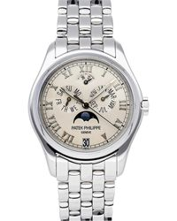 Patek Philippe Silver 18k White Gold Complications Annual Calendar Moon Phases 5036/1g-017 Wristwatch 37 Mm - Metallic