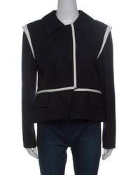 Louis Vuitton Black Wool Contrast Knit Trim Blazer
