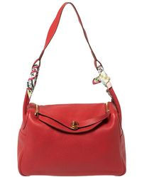 Hermès Rouge Vif Clemence Leather Gold Hardware Lindy 34 Bag - Red