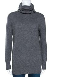 JOSEPH Gray Cashmere Leather Patch High Neck Tunic Sweater