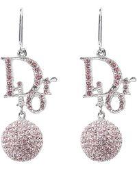 Dior - Crystal Embellished Silver Tone Drop Hook Earrings - Lyst