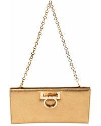 Ferragamo Metallic Gold Leather Gancini Chain Clutch